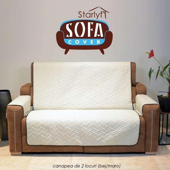 Starlyf Sofa Cover - Cuvertura Pentru Canapea 2 locuri - Bej/Maro