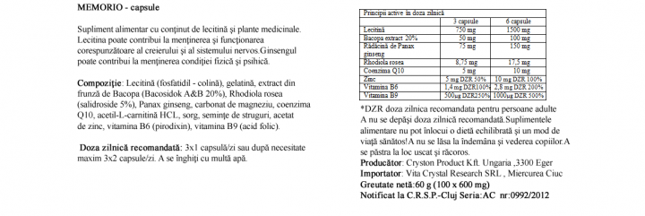Crystal Complex Memorio 100 cps prospect
