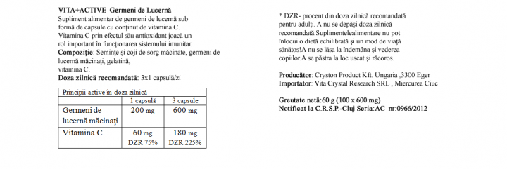 Germeni de Lucerna 100 capsule prospect
