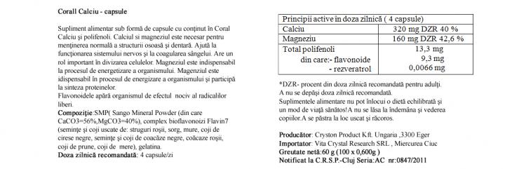 Calciu Coral 100 cps prospect