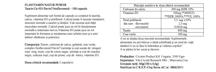 Calciu cu Vitamina D3 si Taurina  prospect