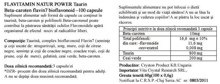 Beta Caroten cu Taurina prospect
