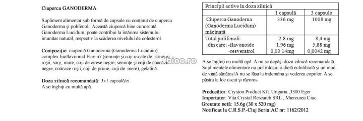 Ciuperca Ganoderma Lucidum 30 cps prospect