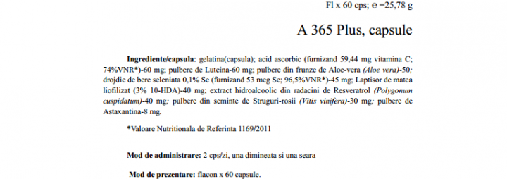A365 PLUS – supliment alimentar antioxidant prospect